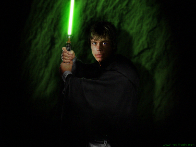 Luke Skywalker wielding his trusty green lightsaber