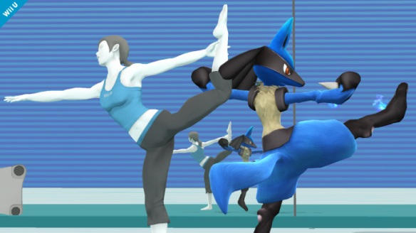 Lucario and Wii Fit Trainer dancing